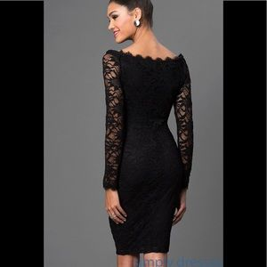 Marina Long Sleeve Off the Shoulder Lace Dress